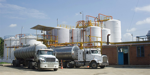 Oil trucks at a refinery